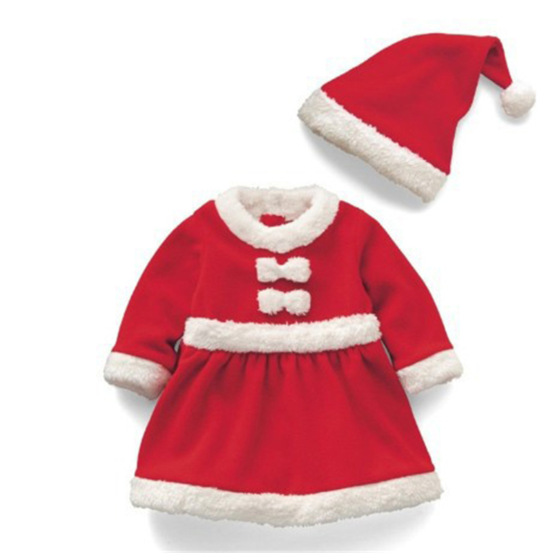 Girl Clothing Long-Sleeve Dress Costume Christmas Toddler Santa Winter Kids Red