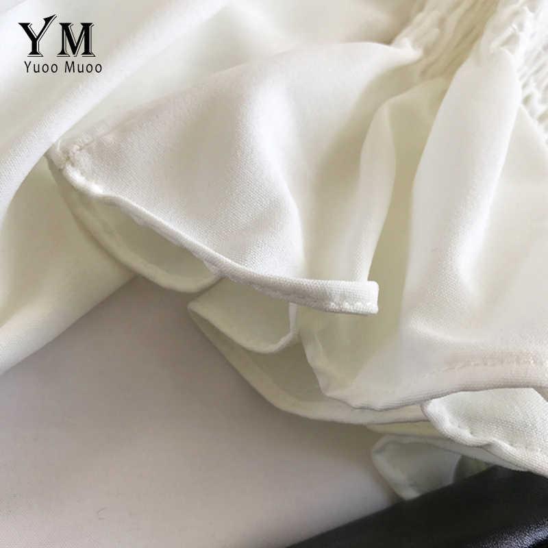 YuooMuoo Manica Lunga Off Spalla Top 2019 Nuove Donne della Molla Chiffon Camicetta Sottile di Modo di Stile Coreano Top Volant Camicia Bianca