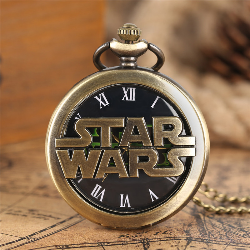 Bronze Star Wars Men's Quartz Pocket Watch Necklace Pendant Fob Chain Fashion Gift For Boy Cool Hollow Roman Number Watches