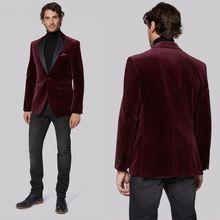 Burgundy Velvet Mens Blazer Jacket Notch Lapel Groom Wedding Tuxedos Tailor Fit