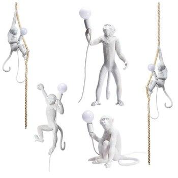 Современная светодиодная белая люстра с Обезьянами, светильник из смолы, чердак, пеньковая веревка, подвесной светильник, Светильники для к...