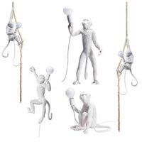 현대 Led 원숭이 펜 던 트 조명 수 지 거실에 대 한 램프 매달려 침실 다 이닝 룸 로프트 비품 바 Dectoration 행 램프