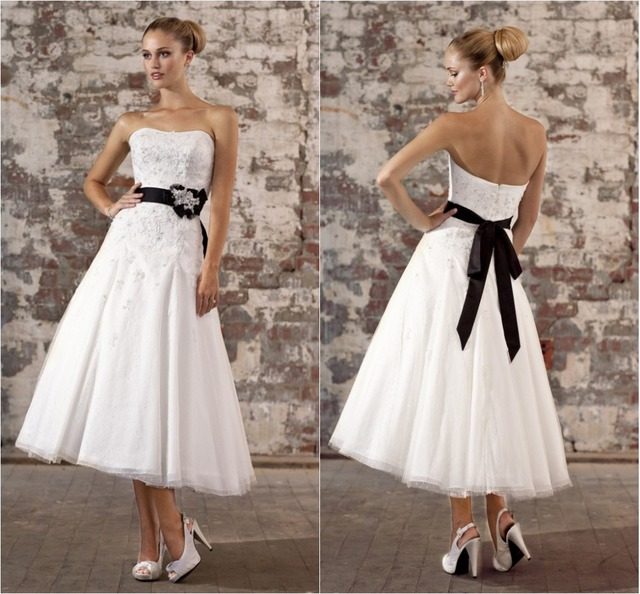 New Arrivals White With Black Sash Tea Length Wedding Dress In