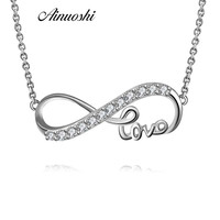 033f032973b9 AINUOSHI Infinity Symbol Love Pendant Necklaces For Women Choker Lucky  Number Eight Long Chain Necklace 925. AINUOSHI símbolo de infinito ...