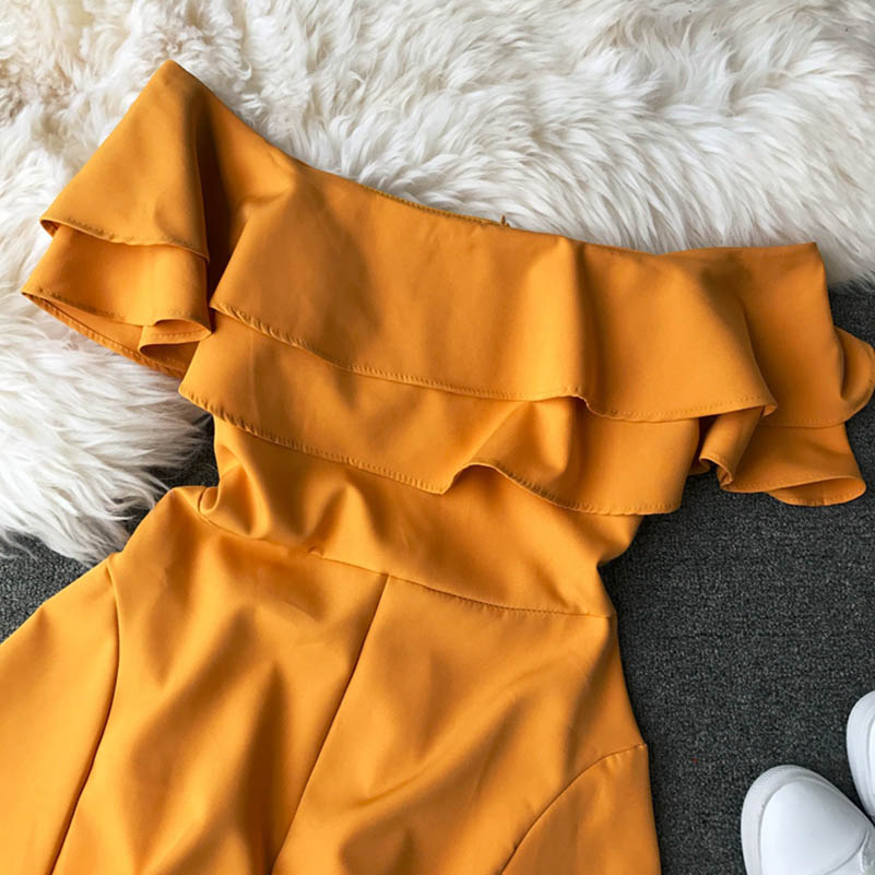 HTB1FceEca1s3KVjSZFAq6x ZXXar - Candy Color Elegant Jumpsuit Women Summer Latest Style Double Ruffles Slash Neck Rompers Womens Jumpsuit Short Playsuit