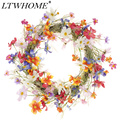 LTWHOME 17 6 дюймов ручной работы весенне-летний венок с разноцветными маленькими цветами для передней двери  стены  мантельки  модель: WHCH