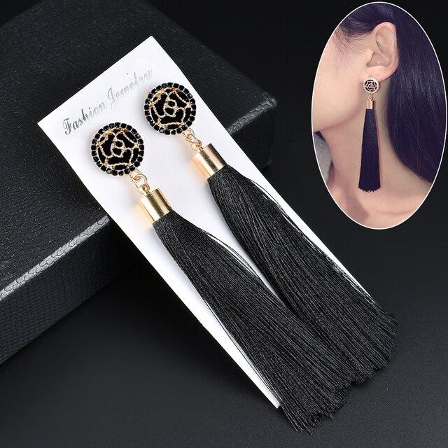 שחור קריסטל פרח שוליים עגילי חרישת גיאומטרי ארוך להתנדנד טאסל עגילים לנשים 2018 תכשיטים Oorbellen מתנה