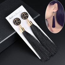 Black Crystal Flower Fringe Earings Earing Geometric Long Dangle Tassel Earrings For Women 2018 Fashion Jewelry Oorbellen Gift(China)