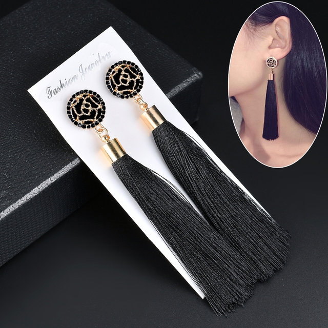 Black Crystal Flower Fringe Earrings