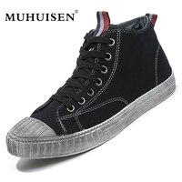 MUHUISEN 2018 Spring Autumn Men's Vulcanize Shoes High Top Flats Comfortable breathable Mens Canvas Shoes