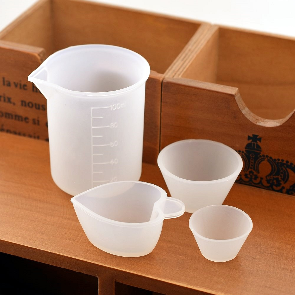 SNASAN 1X Silicone Measuring Cup Split Cup Resin Silicone Mould Handmade DIY Jewelry Making Tool Epoxy Resin Cup 100ML