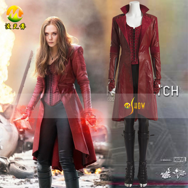 Captain America 3 Scarlet Witch Costume Cosplay Halloween Civil War Scarlet Witch Costume Long Red PU Leather Coat Cosplay