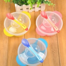 1 Set Children's Tableware Baby Learning Dishes With Suction Cup Assist Food Bowl Temperature Sensing Spoon Baby Feeding Bowl(China)