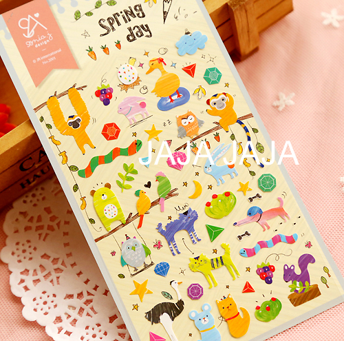 Spring Day Kawaii Decoration Sticker With Animal Pattern Decoration