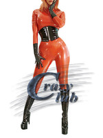 Crazy club_Latex Women Catsuit Clothe Leotard female latex unicouleur 100% latex sex crotchless catsuit body Not Include Corset