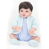 22 дюймов кукла полный силиконовые возрождается младенцев Куклы милый для Обувь для девочек волосы парик реалистичных мягкий винил живой ре