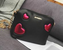 Love hit color shell chain diagonal bag, cute lady new fashion playful shoulder bag,women girls crossbody messenger bags