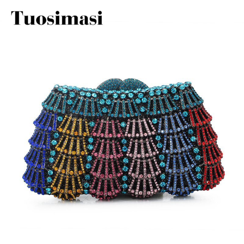 colorful crystal purse with chain flower hard clutch evening bag clutch bag (88171A-DC)