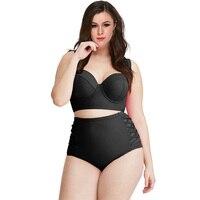 2018 Plus Size Bikini Set Solid Color Women High Waisted Push Up Swimsuit Bandage Swimwear Ladies Big Chest Biquini Bathing Suit