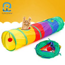FURGERIN Colorful Cat Toys for Cats Rainbow Pet Kit Foldable Spiral Tunnel 4 Holes Play Tubes Balls interactive pet kitten toy