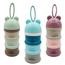 Детский контейнер для молочных смесей, 3 слоя, лягушка, стильная переносная коробка для хранения детского питания, эфирные хлопья, Мультяшные коробки для сухого молока для малышей