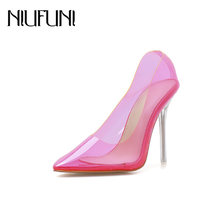 NIUFUNI Damen Sexy Pumps Candy Farbe Transparent Spitz High Heels Mode Kristall Stiletto Ferse Frauen Schuhe(China)
