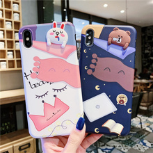 3D cartoon quilt sleeping bear rabbit case phone for iphone brand 8plus 7plus 6 s 8 7 plus xs max xr x dinosaur matte soft cover