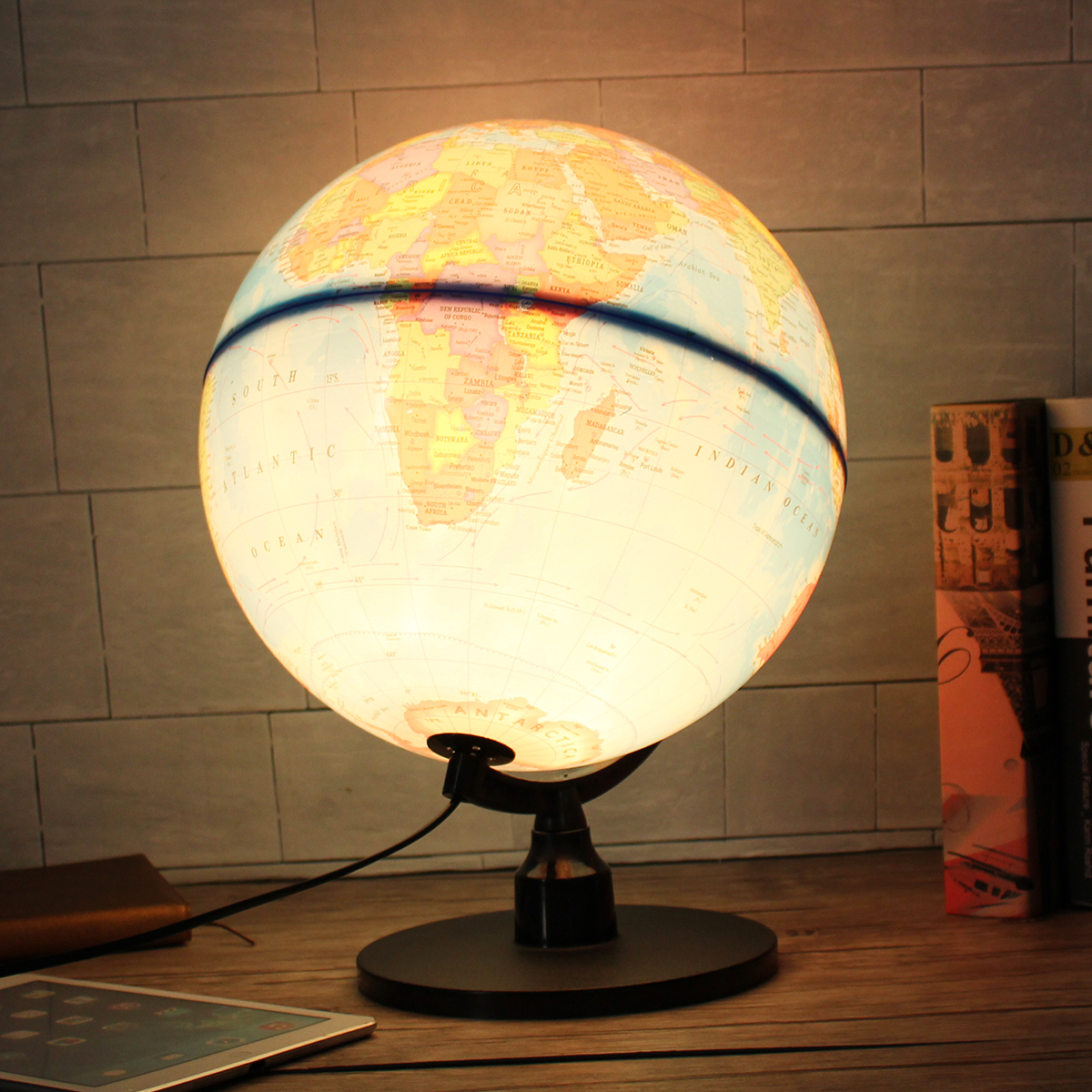 32cm World Globe Earth Ball Map 110V LED Night Lights for Home Office Desktop Bookcase Bedroom Led Night Lamp Decor Gift Light цены онлайн