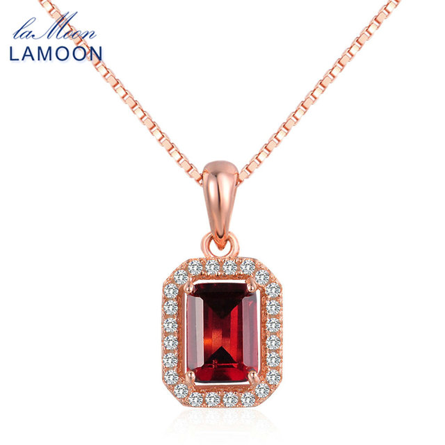 1ac5a559088be US $15.32 40% OFF|Aliexpress.com : Buy LAMOON 925 Sterling silver jewelry  1.1ct Natural Rectangular Red Garnet Pendant Necklace Women Rose Gold  Plated ...