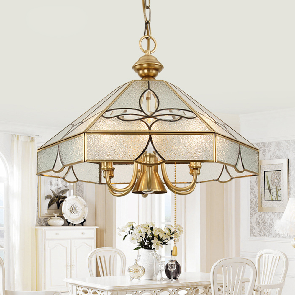 European Pure Copper Living Room Pendant Light Study Room diamond Glass Shade Copper Pendant Lamp Bedroom Carved Pendant Light fumat stained glass pendant lamps european style baroque lights for living room bedroom creative art shade led pendant lamp