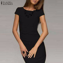 Hot Sale 2017 Summer Dress Women Bodycon Office Party Dresses Short Sleeve O-Neck Package Hip Slim Vestidos Plus Size S-3XL