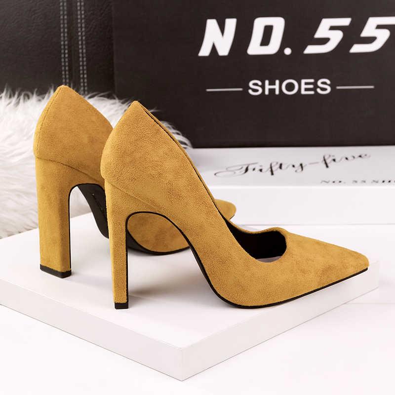 9a9270eb8fd ... 2018 Size Women 10cm Block High Heels Bridal Scarpin Valentine Pumps  Ladies Black khaki Plaza Cute ...