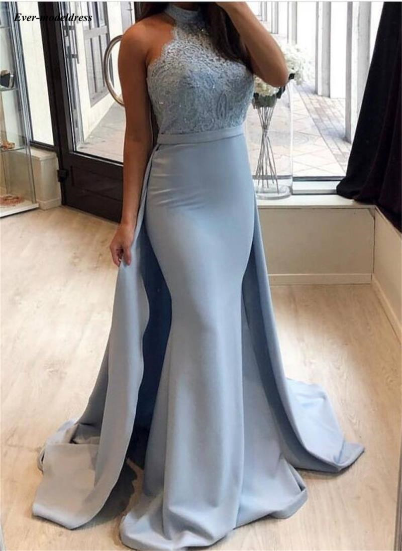 Charming Light Sky Blue Mermaid   Evening     Dresses   High Neck Lace Appliques Sequins Celebrity   Dresses   With Detachable Train Robes