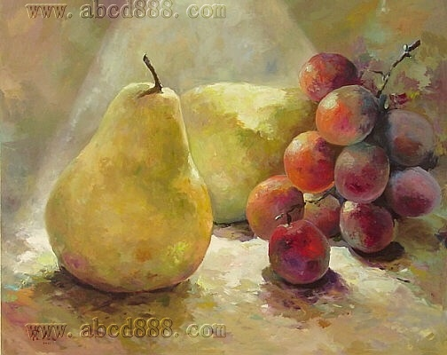 NEW!!!THE PRINT OIL PAINTING 40*30 THE YELLOW PEARS AND PURPLE GRAPE ...