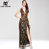 New Arrival Women's Sexy Low V Neck Sleeveless Cross Open Back Embroidery Sequined Prom Party Dresses Long Runway Dresses
