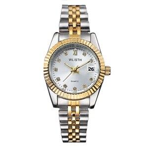 Image 1 - Wlisth 여성 시계 여성 시계 패션 숙녀 톱 브랜드 럭셔리 손목 시계 여성 골든 실버 스틸 방수 빛나는
