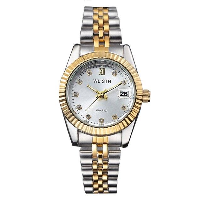 Wlisth 여성 시계 여성 시계 패션 숙녀 톱 브랜드 럭셔리 손목 시계 여성 골든 실버 스틸 방수 빛나는