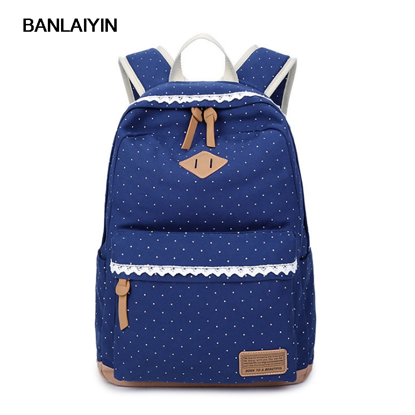Unisex Canvas Dot Printing Backpacks Men Women Middle School Students Boys Girls Casual Travel Backpacks Mochila