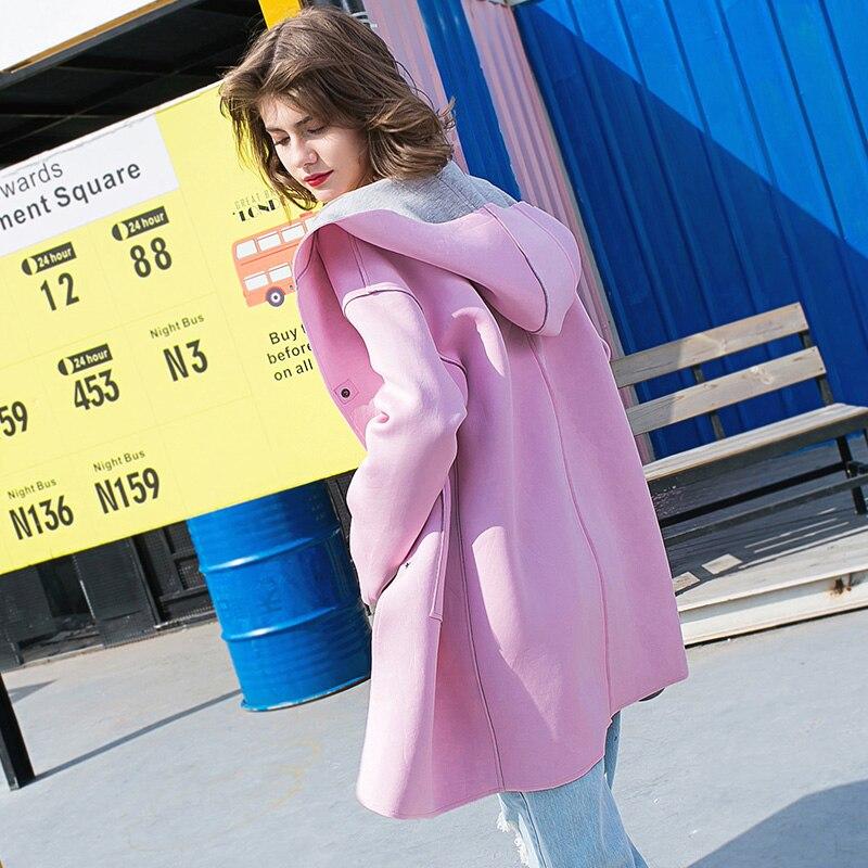 2018 Tranchée Femme Manteau Deux Porter Lâche Robes Côtés Tgh209 Imprimé Femmes Automne Longue Mode Nouveau Capuchon Lettre Pink À Outwear Printemps 04qEEw