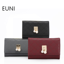 EUNI Cowhide Leather Pearl Hasp Ladies Wallet High Quality Fashion Exclusive Designer Brand Clutch Purse Female Card Holder N45