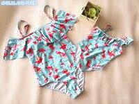 Купальник для мамы и дочки с фламинго, купальный костюм для мамы и дочки, одежда для всей семьи, бикини для мамы и меня