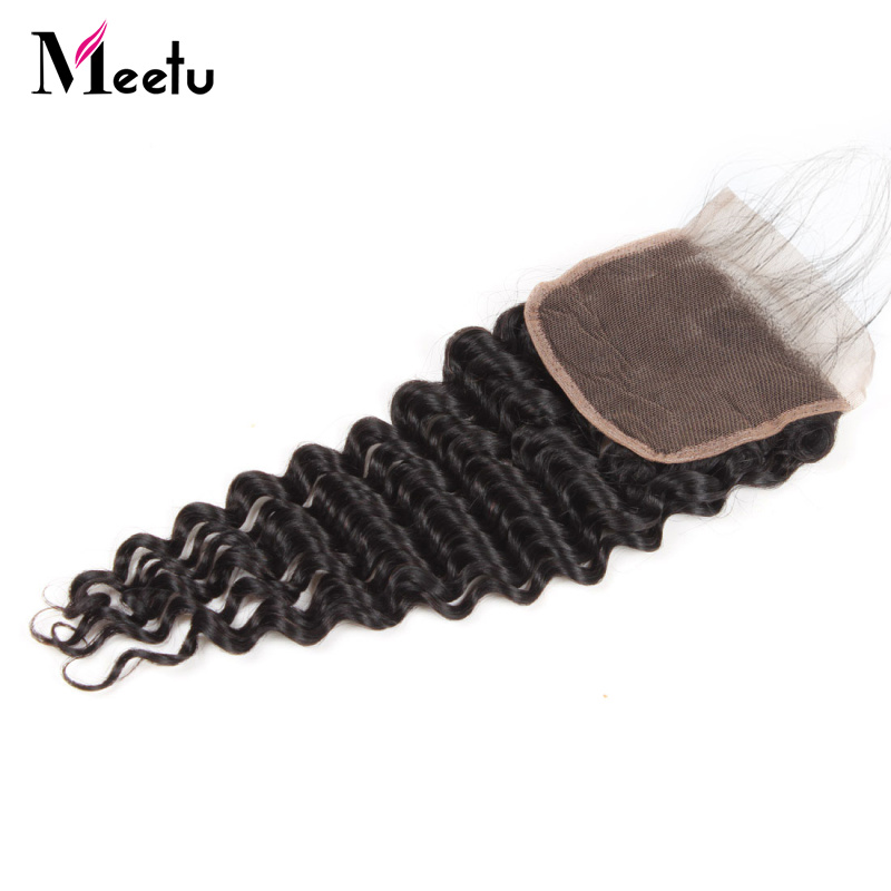 4x4 Malaysian Lace Closure Deep Wave 8-22 Inch Free/Middle/Three Part 130% Density Non Remy Human Hair Closure With Baby Hair