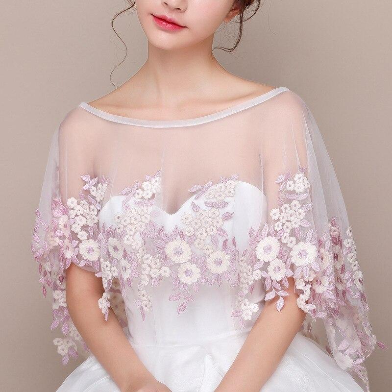 White Women Bolero Lace Mesh Summer Bridal Shawl Wrap Floral Embroidery Wedding Jacket Wraps Elegant Mujer Cape Mariage