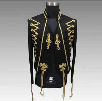 2018 S-4XL Gold Embroidery Men's Slim Jacket Bar Evening Performance Palace Outfit Nightclub Singer Dancer Show Jacket Outfit - DISCOUNT ITEM  10% OFF All Category