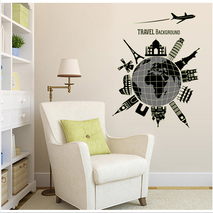 Travel Home Decor vacation photo blanket travel home decor handmade travel themed home decorations New Creative Fashion Diy World Travel Luminous Home Decor Fluorescence Wall Stickers Living Room Wall Decals