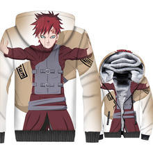 Naruto Uzumaki Gaara 3D Print Hoodie Men Japanese Anime Harajuku Hooded Sweatshirt Winter Thick Fleece Zip up Coat Ninja Jacket