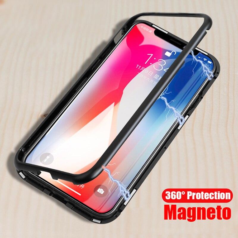 Adsorbimento magnetico Cassa Del Respingente Del Metallo Per il iphone X XS Max XR Caso Magnete Di Lusso Trasparente Della Copertura di Vetro Per iPhone 6 6 s 7 8 Più