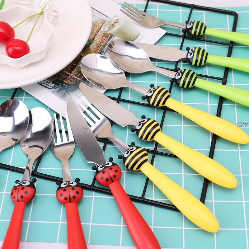 3 Pcs/ Set Kids Tableware Stainless Steel Children Feeding Spoon & Fork & Knife  Cartoon Feeding Spoon