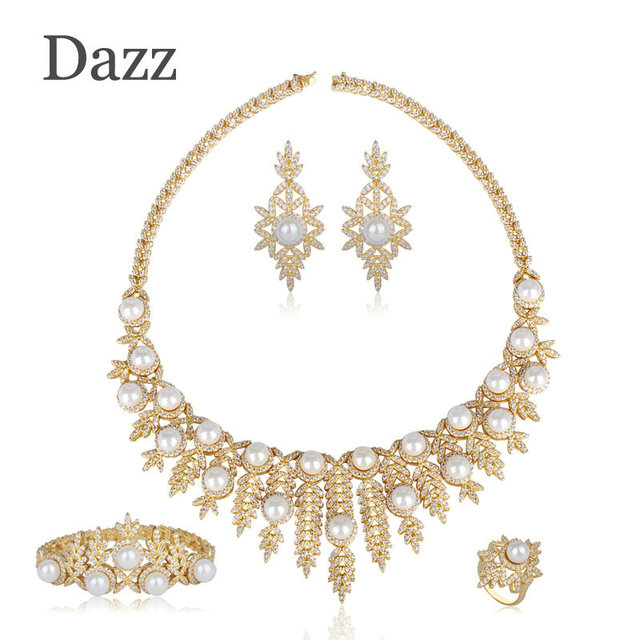 Dazz Luxury Full Inlay Zircon Large Choker Necklace Earrings Bracelet Ring Simulate Pearl Copper Sets Women Bridal Dress Jewelry