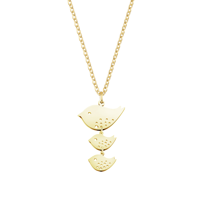 Family Three Birds Pendant Necklace Thanksgiving Gifts Women
